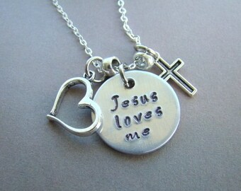 Handstamped JESUS LOVES ME Necklace, Charm Necklace, Religious Jewelry, Gift For Her