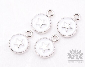 P427-05-WR// Original Rhodium Plated White Epoxy Star Oval Pendant, 2 pcs