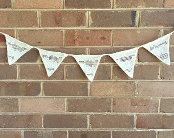 Lace Bunting - Cream Vintage Style