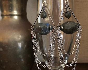 Labradorite Drape Earrings with Pyrite