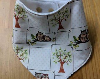Baby bandana bib, owls, baby bib, newborn gift, baby shower gift