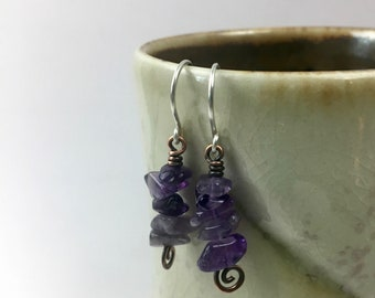 Amethyst and Copper Earrings; Eco Friendly, Sustainable Jewelry; Boho Earrings; Pantone Ultra Violet, Metaphysical Gemstone Jewelry