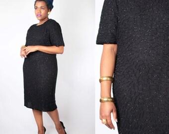 Vintage 80's Dress // Plus Size Jet Glass Beaded LBD Little Black Formal Party Dress // Vintage Plus Size Dress (sz 16 18)