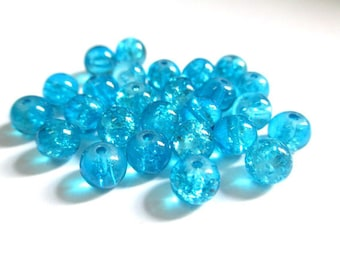 20 Blue 6mm (P-17) Crackle glass beads