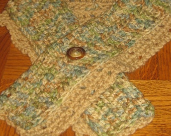 Hand Made Crocheted Cross Over Scarf Cowl - Beige w/Ombre + other colors