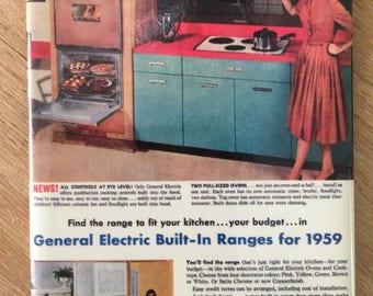 "Mid Century Modern Atomic Era Refrigerator Magnet 2.5"" x 3.5"" Pretty Lady showing off her 50s 60s Kitchen"
