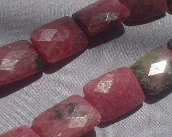 natural gemstone rosy pink rhodonite facet rectangle bead 15 x 20 mm / 10 inch