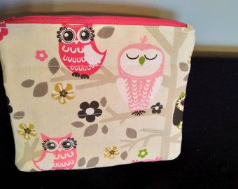 Small zipper pouch pencil case owls
