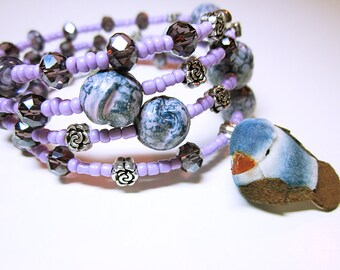 JEWELRY Lilac Wrap Bracelet Boho Stack Cuff Silver Flower Spacer Beads Assorted Lilac And Blue Beads Boho Gift Ideas For Her