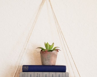 Hanging Shelf, Rustic Wood Shelf, Plant Hanger, Handcrafted Shelf, Easy To Hang, Choose Shelf Size, Hangs With Twine, Versatile