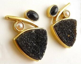 Sterling Silver Gold Vermeil & Black Druzy, Pearl and Onyx Earrings