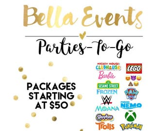 Party Packs (Birthdays, Celebrations, Showers, Wedding Events and More) Invites / Banners / Favors / Cupcake Toppers Ect.
