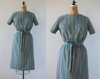 vintage 1960s dress / 60s day dress / 60s striped dress / 60s rainbow stripe dress / 60s cotton dress / 60s belted shift dress / large