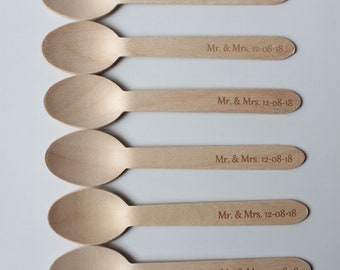 25 wedding spoons custom wooden spoons Engrave Spoons for Wedding Bridal Favor Baby Shower Gift Party decoration Name and Date