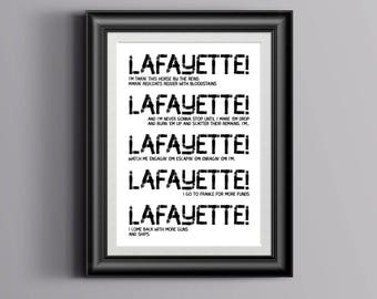 Hamilton Musical inspired - Lafayette quote, Typography Print - Poster, Hamilton