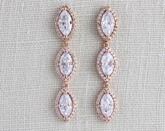 Rose Gold Bridal earrings, Wedding jewelry, Wedding earrings, Crystal earrings, Long earrings, Rose gold earrings, Bridesmaid gift, SCARLETT