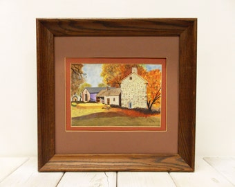 """Vintage Farmhouse Painting by Charles H. Maak--- """" Old Stone Farmhouse"""" painted in 1994"""
