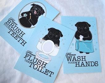 Black Pug Bathroom Prints - 4x6 Eco-friendly Set