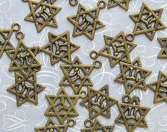 10 Star of David Charms Antique Bronze Tone 2 Sided - BC125