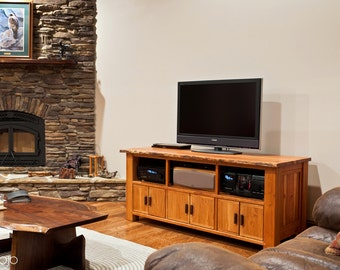 Live Edge Cherry Media Console Rustic Entertainment Center Cherry Sideboard Nakashima Style Cabinet Rustic Cabinet