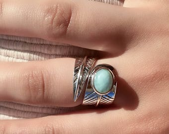 Silver Ring - Larimar Ring - Tribal Ring - Ethnic Ring - Gemstone Ring - Indian Jewelry - Tribal Jewelry - Silver Jewlery - Statement Ring