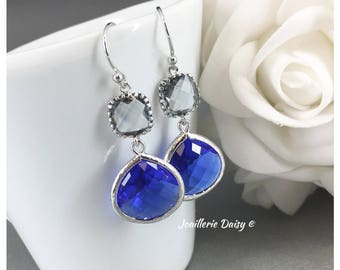 Blue and Grey Earrings Bridesmaid Gift Cobalt Blue Sapphire Earrings Maid of Honor Jewelry Mother of Groom Gift Mother of Bride Gift for Her