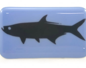Tarpon fused glass belt buckle