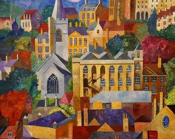 Bradford on Avon, Original Oil on Canvas Painting by Amy Yates