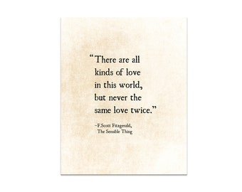 F. Scott Fitzgerald Love Quote, Never the Same Love Twice, Romantic Love Quote Large Wall Art, Bedroom Decor, Art Print