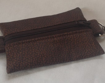 Brown Faux Leather Zipper Pouch/Key Ring/Money Pouch - Gifts for Men