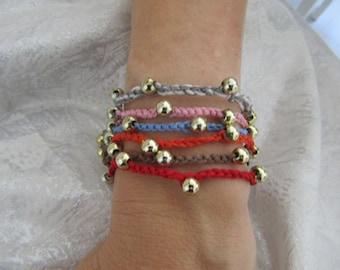 Golden bead luck bracelet charms string
