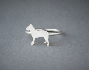 PITBULL RING / Pitbull Ring / Silver Dog Ring / Dog Breed Ring / Silver, Gold Plated or Rose Plated.