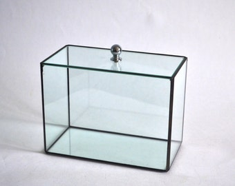 Glass box with lid many sizes / Geometric Glass Candle holder / Stained Glass Terrarium / Handmade Glass Terrarium