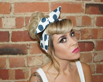 Black white Large Spot Spot Vintage wired Rockabilly Pin up Headband Headwrap