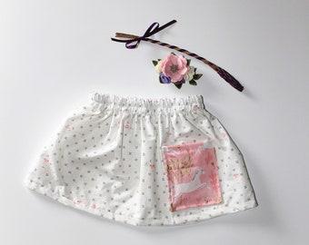 Ditsy Floral Unicorn Pocket Girls Skirt, Enchanted Print Girls Skirt, Knee Length Cotton Skirt, Toddler, Baby Skirt
