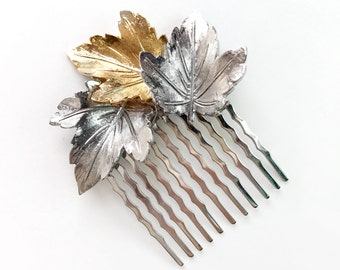 Comb - Leafy Gold and Silver Hairpiece - Bridal Hair Comb - Vintage Style Hair Piece - Nature Outdoor Wedding - Two Tone