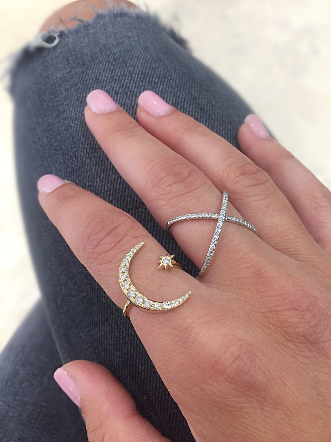 Diamond Crescent Moon and Star Ring // 14kt yellow, white, pink ...