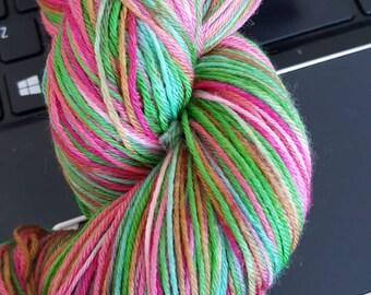 100g 4 Ply Luxury Extrafine Merino/Nylon Hand Dyed Sock Yarn- Oh Christmas Tree