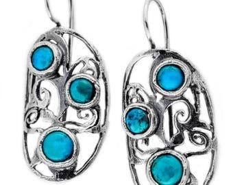 Sterling Silver Earrings, Turquoise Earrings,  Silver Jewelry, handmade