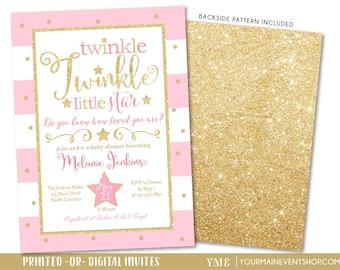 Twinkle Twinkle Little Star Baby Shower Invitation, Twinkle Twinkle Little Star Invite, Pink and Gold Star Invite, Baby Girl • BS-T-01