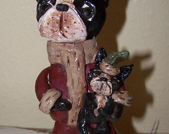 Folk Art Boston Terrier Dog Santa Claus Paper Mache Candy Container Ooak
