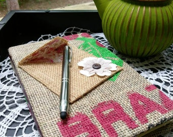 Coffee Sack Journal with Lined Pages, Gift for English Major, Gift for Writer, Graduation Gift, Brazilian Coffee Sack, Tropical Theme