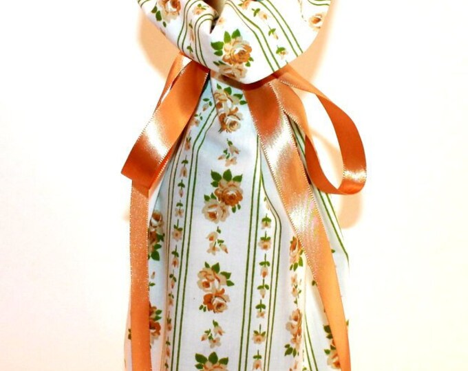 WINE GIFT BAG ~ Brown Roses ~ Sack ~ Tote ~ Bell Art Designs WB8