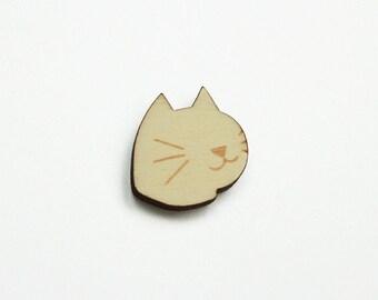 PIN'S CAT / wooden brooch