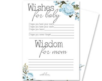 Boy Baby Shower Advice for Mom Card | Rustic Baby Shower Game | Baby Shower Decoration | Printable Wishes for Baby | Brinsley Collection