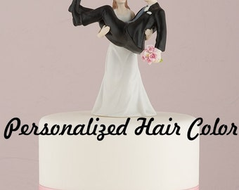 Custom Wedding Cake Topper - Funny Bride and Groom - Bride Carrying Groom - Weddings - Funny Wedding Cake Topper - Humorous - Comical