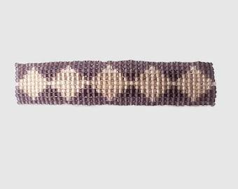 Beaded Hair Barrette, Purple Barrette, Beaded Hair Clip, Purple Diamond Pattern Beaded Hair Accessory, French Clip Barrette,