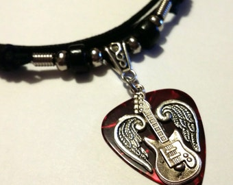 Guitar Pick Necklace - Adjustable - Red - Guitar Pick - Silver Wings - Guitar Necklace - Christian Jewelry