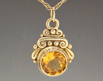 Gold Citrine Necklace/ Citrine Pendant/ 14ky Gold Citrine Pendant/ Gift for Her/ November Birthstone/ Yellow Necklace/ Unique Necklace
