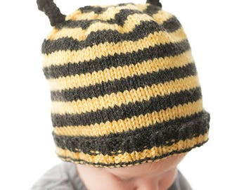 Baby Bee Hat KNITTING PATTERN / Bee Knitting Pattern / Baby Bumblebee / Baby Bee Costume / Honey Bee / Bee Hat Pattern / Bee Baby Hat